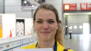 Sofie Lindgren från Krokom vann tävlingsmomentet tapetsering och slutade totalt på en sjundeplats. FOTO: CONNY LUNDBERG
