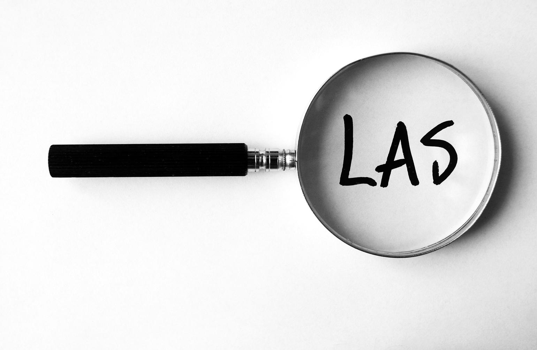 """Ett förstoringsglas som ligger över ordet """"LAS"""""""