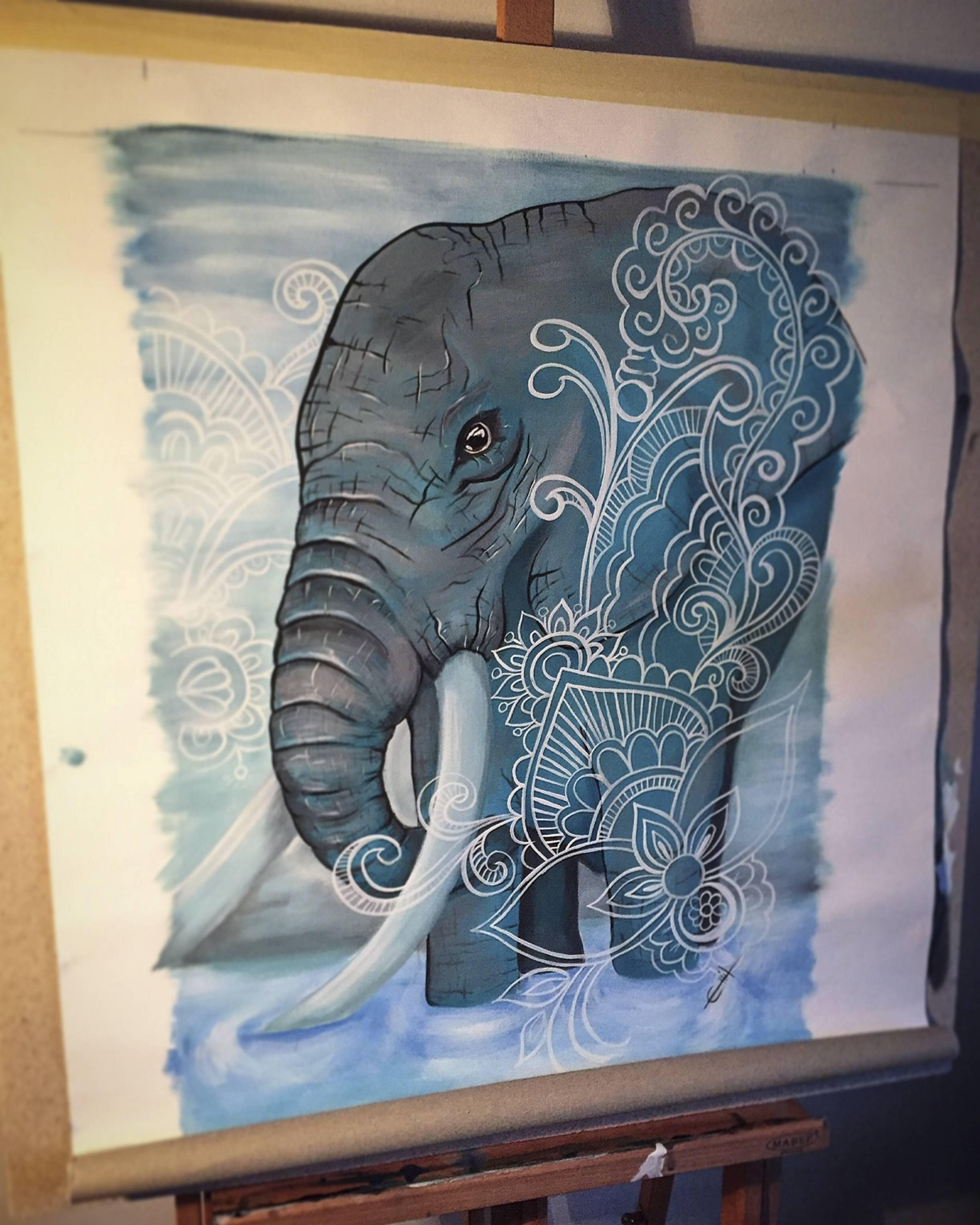 En tavla föreställande en elefant