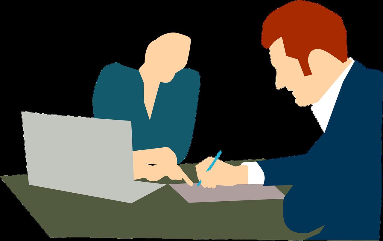 Två tecknade personer tittar på papper vid en laptop