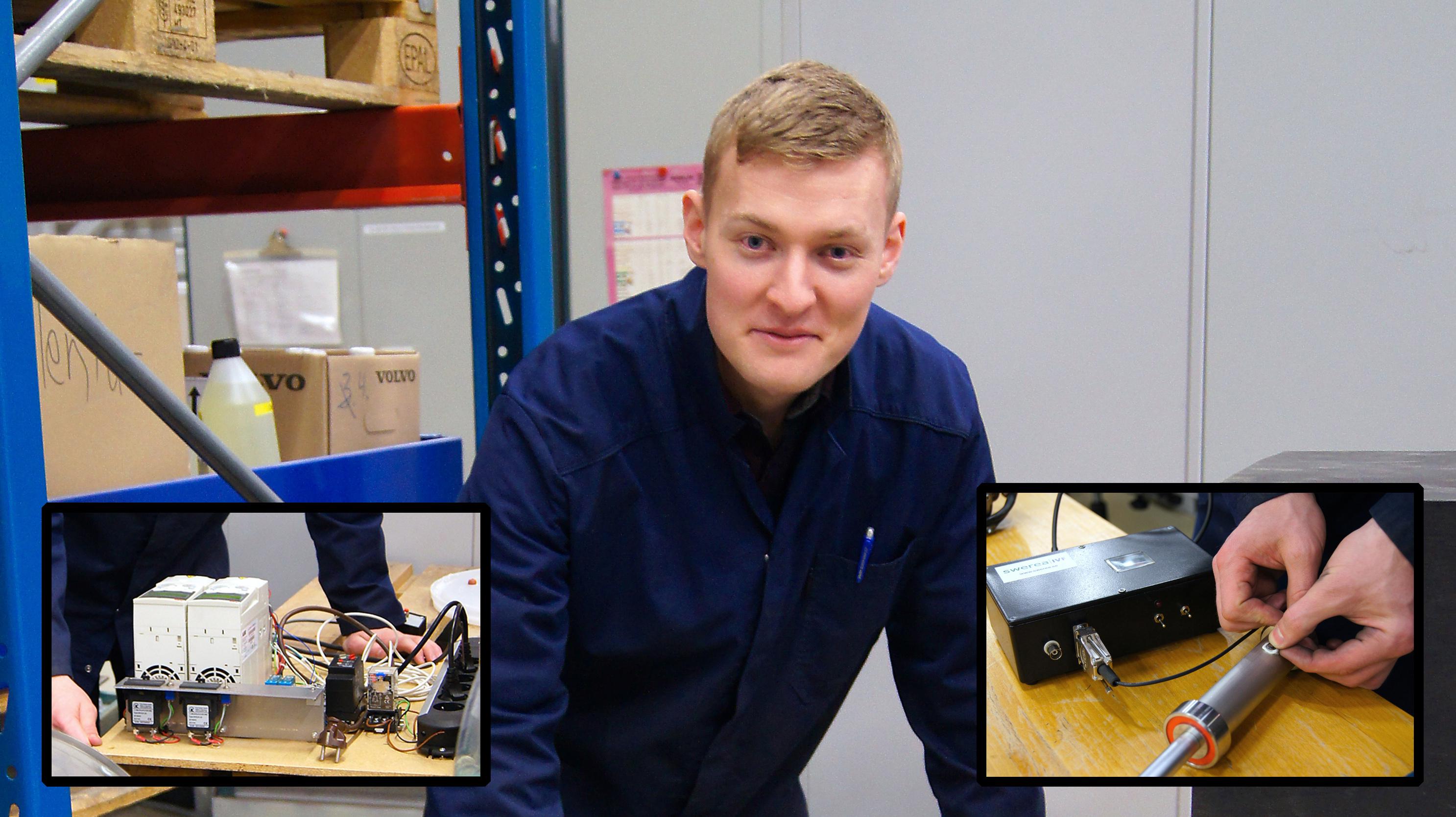 Bilden föreställer en man med kort, ljust hår och blå skjorta. Över bilden är två mindre bilder monterade, föreställande olika typer av mätutrustning.