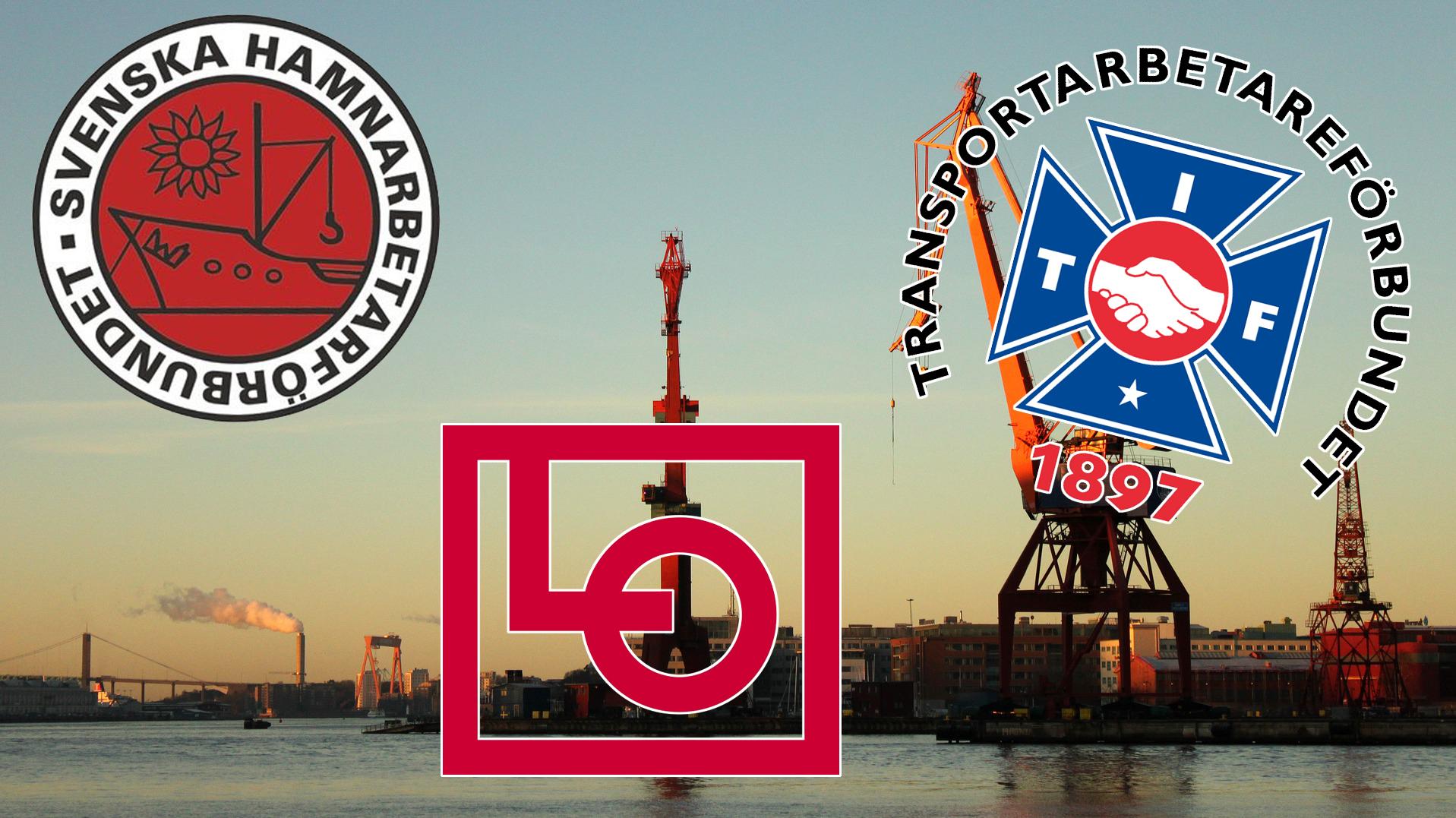 Bilden föreställer en hamn med stora, röda kranar. Logotyperna för Hamnarbetarförbundet, LO och Transport är monterade över fotot.