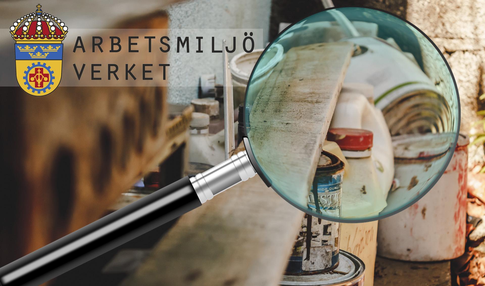 Ett förstoringsglas som zoomar in på en hylla med färgburkar. Arbetsmiljöverkets logga är monterad i ena hörnet.
