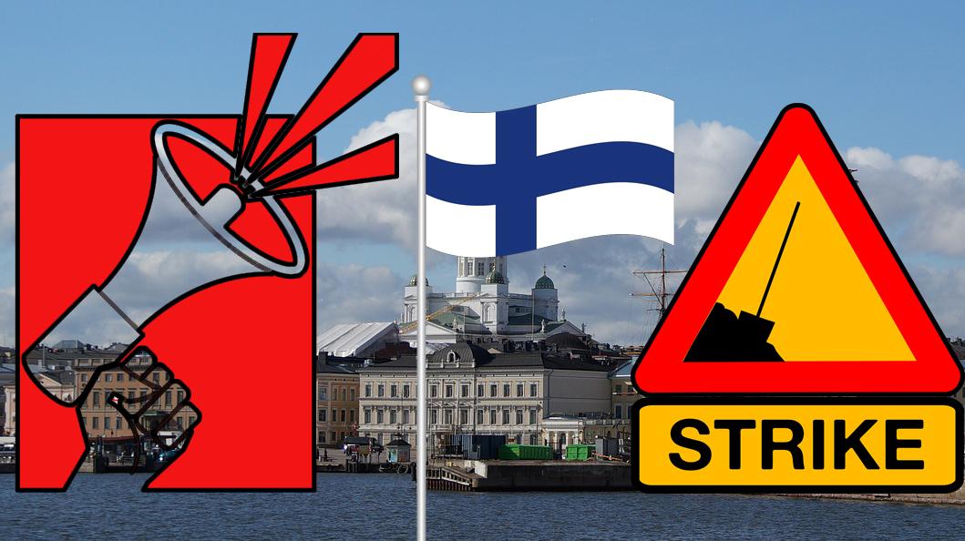 En bild på Helsingfors från havet, med tecknade bilder av en megafon och Finlands flagga monterade över