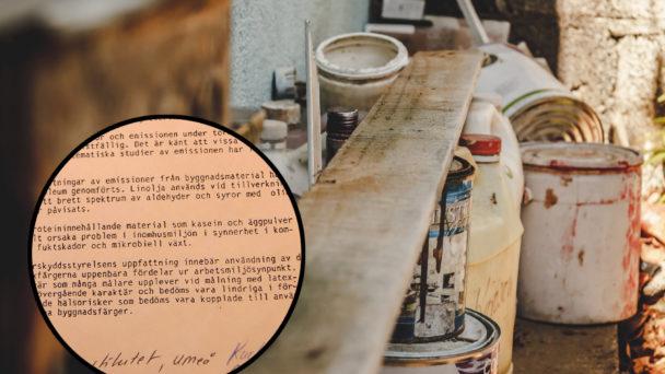 Ett utdrag från en text monterad ovanpå en bild på en arbetsbänk