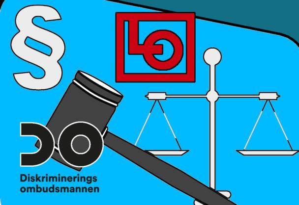 En tecknad våg, domarklubba och paragraftecken, med loggorna för LO och DO