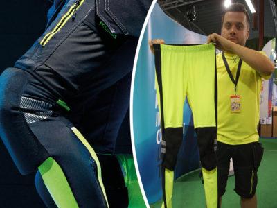 Bildmontage. Ena delen föreställer ett knä på ett par svarta tights, den andra en person som håller upp Salla tights i gult.