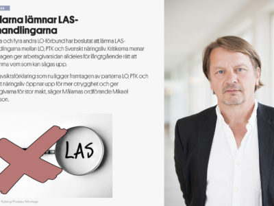Mats Glavå, docent i arbetsrätt, bredvid ett skärmklipp från en tidigare artikel i Målarnas Facktidning