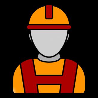 En stiliserat tecknad person med bygghjälm.