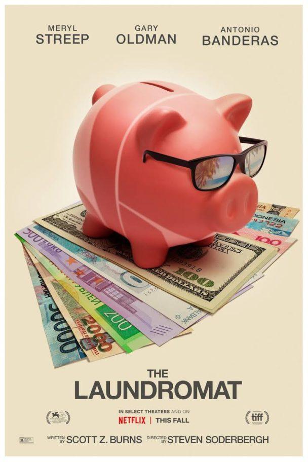 Omslaget till The Laundromat. En spargris med solglasögon står på en hög med sedlar.