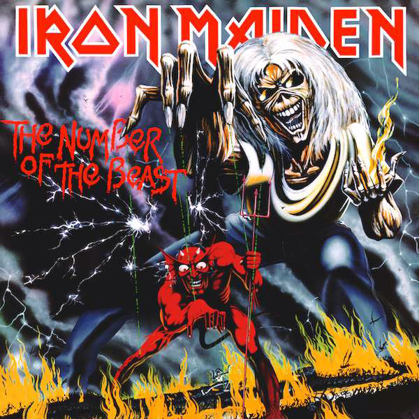 "Skivomslaget till Iron Maidens ""The Number of the Beast"""