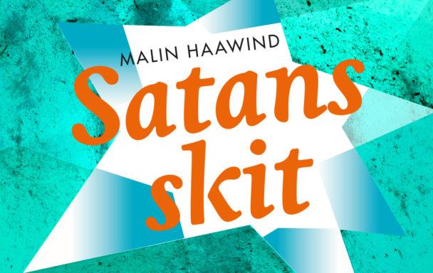 """Omslaget till boken """"Satans skit"""": En grön, spräcklig bakgrund med en vit stjärna i mitten och bokens titel i orange."""