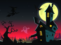 Ett tecknat spökhus omgivet av spretiga träd och fladdermöss.