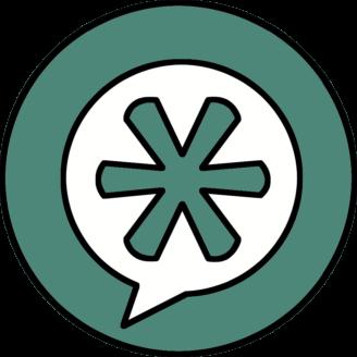 En tecknad asterisk i en pratbubbla