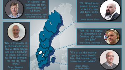 En karta över sverige med citat från texten monterade över.