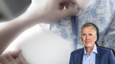 En bild på vårdpersonal som kollar pulsen på en patient, med ett porträtt på Mikael Johansson monterat över