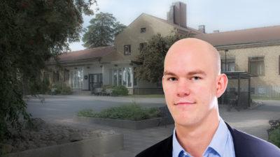 En bild på Runö kursgård, med ett porträtt av Claes Thim monterat över