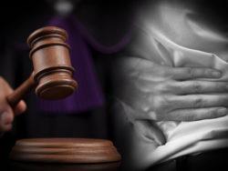En domare med en klubba, monterat invid en hand som håller i en värkande rygg