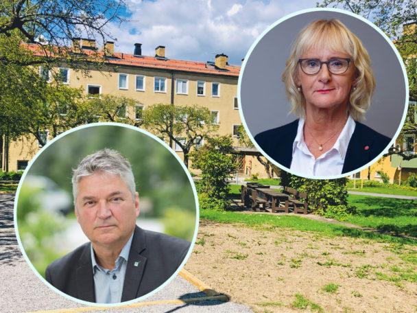 Ett gult flerfamiljshus med porträttfoton av Anders Nordstrand och Lena Micko monterade över