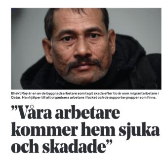 """EN bild på en tidningsartikel med rubriken: """"Våra arbetare kommer hem sjuka och skadade"""""""