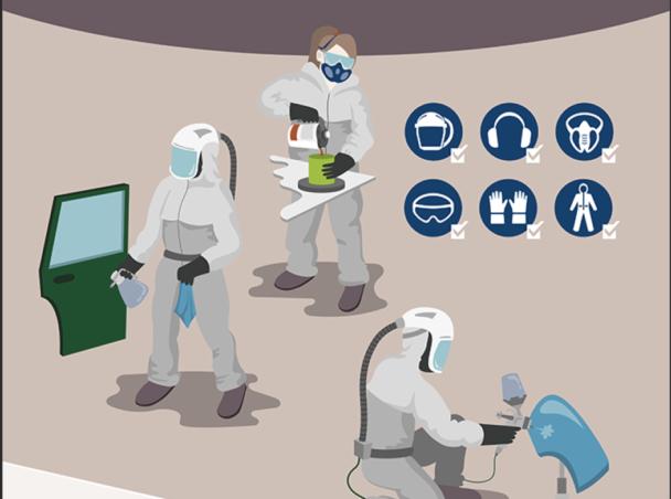 En tecknad bild av lackerare som arbetar i skyddskläder