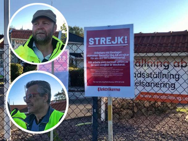 Skyltar med strejkö-meddelanden på
