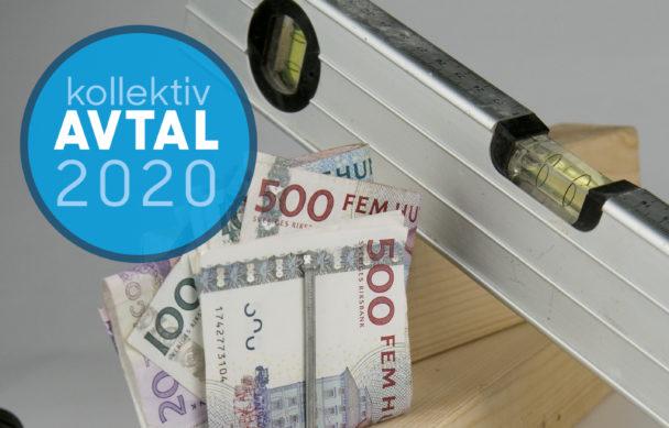 Ett vattenpass som mäter sedlar, med en ikon med texten Avtal 2020 monterat över