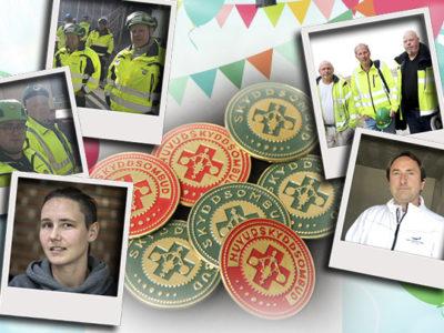En samling skyddsombuds-badges, omgivna av ballonger och foton på olika skyddsombud
