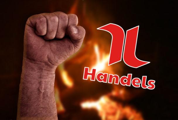 En knuten näve framför eld, med Handels logga monterad över