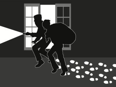 Två tecknade tjuvar i silhuett mot ett fönster, som har lämnat massro av vita spår efter sig
