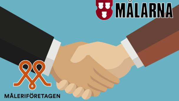 Två tecknade händer som skakar hand, med Målarnas och Måleriföretagen sveriges loggor monterade över