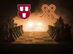 ett schackbräde i silhuett mot rör rök, med Målarnas och Måleriföretagens loggor monterade över