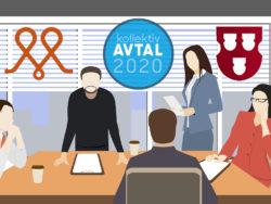 En samling tecknade personer i et möte, med Målarnas och Måleriföretagens loggor monterade över