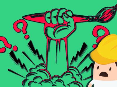 En tecknad hand slås upp ur marken, hållandes en pensel. I hörnet tittar en förskräckt tecknad figur i bygghjälm fram.
