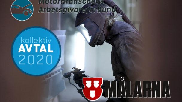 En lackerare som arbetar i skyddskläder, med loggan för Avtal 2020 samt MAF:s och Målarnas loggor monterat över