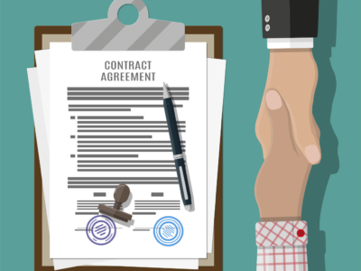 Två tecknade händer skakar hand över ett kontrakt