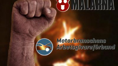 En knuten näve framför eld, med Målarnas och Motorbranschens loggor monterade över