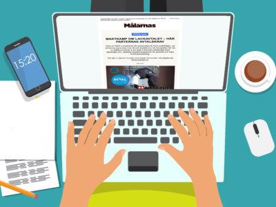 en tecknad person sitter med en laptop I knät och läser Målarnas facktidnings nyhetsbrev på sin skärm