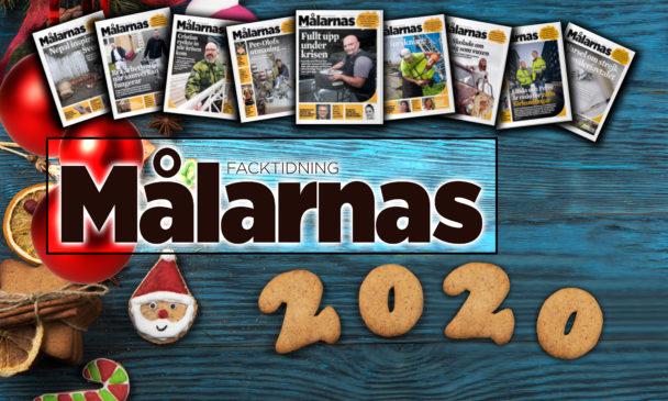 Ett bord med julsaker på, överlagt med framsidorna på årets olika nummer av Målarnas facktidning och tidningens logga.