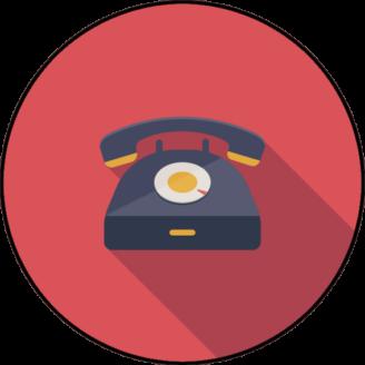 En tecknad telefon med nummerskiva