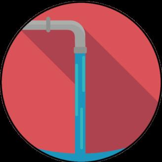 En tecknad vattenkran som spolar vatten