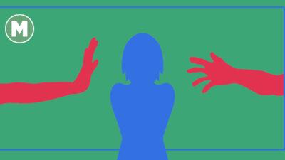Tecknade händer som sträcker sig mot en tecknad silhuett av en person i mitten