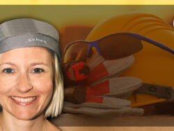 Ett foto på Ida-Therese Högfeldt monterat över en bild på en bygghjälm, handskar och skyddsglasögon