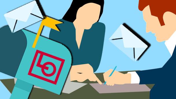 Två tecknade personer tittar och pekar på papper, med en postlåda med LO:s logga på i förgrunden