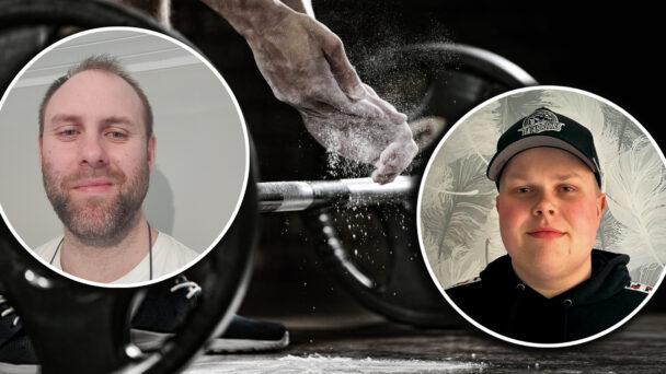 Foton på Rikard Englund och Mathias Ahlbäck monterade över en bild på en person som ska lyfta en tung vikt