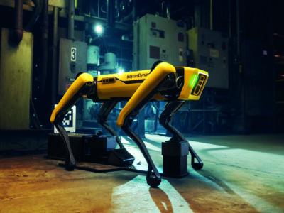 Robothunden patrullerar ett område på natten