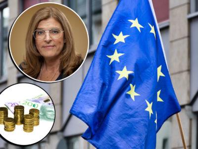En EU-flagga med bild på Therese Guovelin och svenska pengar monterade över