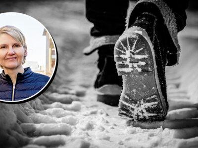 En bild på Maria Åberg monterad över en svartvit bild på två fötter som går i snö
