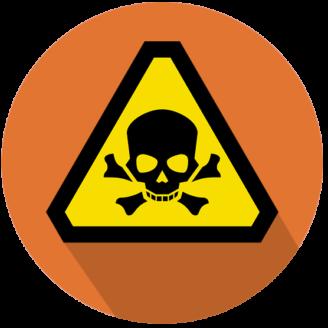 En tecknad varningsskylt med döskalle på