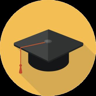 En tecknad studenthatt